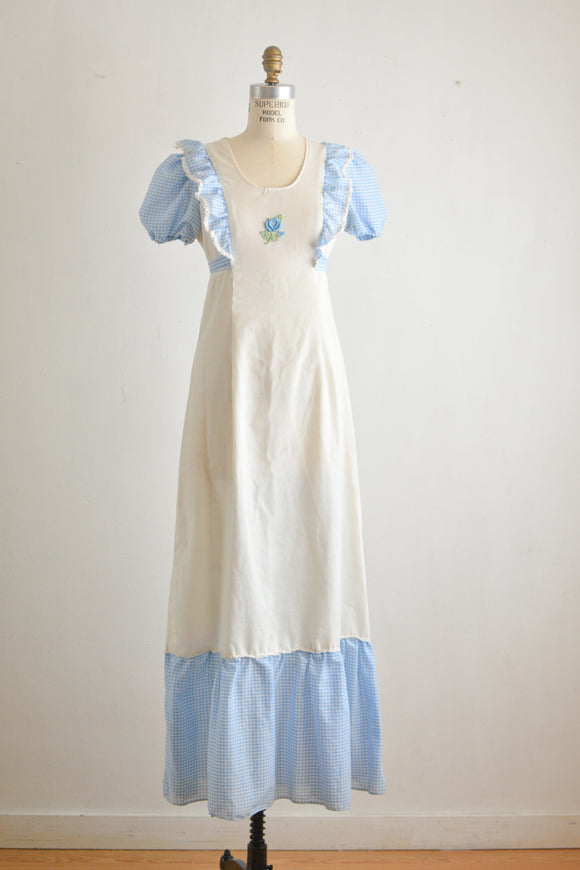 Vintage white maxi dress blue gingham- Small