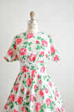 Vintage roses 70s dress midi fit and flared -Medium
