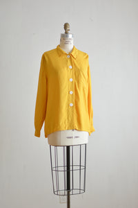 Vintage yellow buttoned down blouse-Small