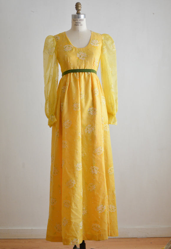 Vintage 1970's yellow maxi dress white florals -XS