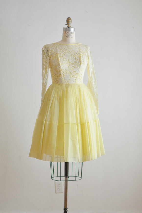 Vintage 1960's yellow dress -XXS