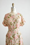 Vintage roses print two piece set blush- Small