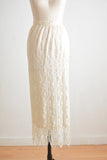 Vintage white 70's laces silk skirt -XS