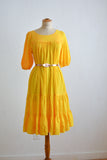 Vintage yellow dress 1970's cotton-S/M
