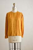 Vintage mustard silk top -Medium