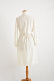 White midi dress bow tie collar -Medium