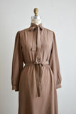 Vintage silk midi dress brown - Medium