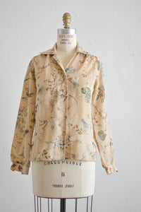Vintage monstera buttoned down top -M