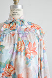 vintage bow collar roses top -Medium