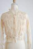 Vintage Edwardian cream blouse embroidered- Small