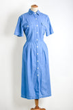 Vintage buttoned down dress blue dress- Large