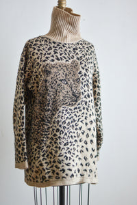 Vintage cheetah novelty print sweater- Large