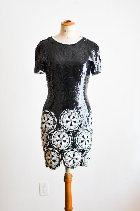 Vintage black beaded gala dress- Small
