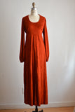 Vintage earth red maxi dress-M