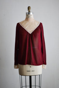 Vintage velvet victorian top -Small