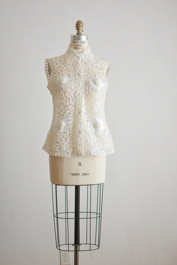 Vintage white laces semi sheer top - Small