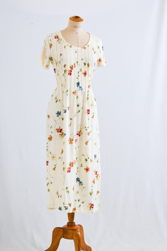 Vintage floral maxi dress romantic -Small