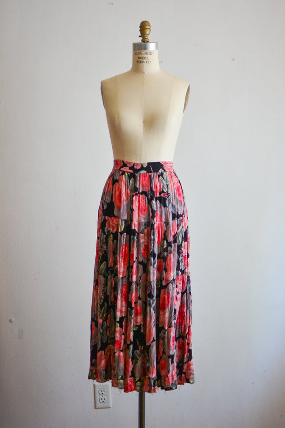 Vintage rose maxi skirt - Medium