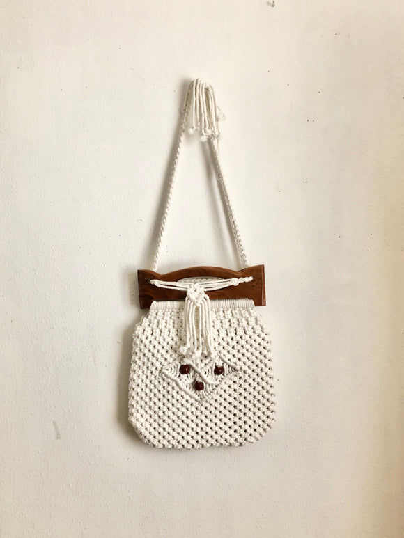 White knit boho bag
