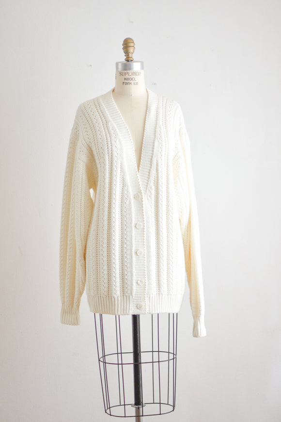 Vintage white knit sweater -Large