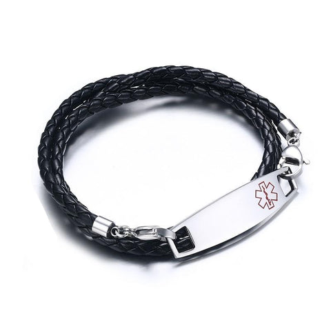 Unisex Medical Alert ID Bracelet - Braided Leather Triple Wrap - Free Engraving