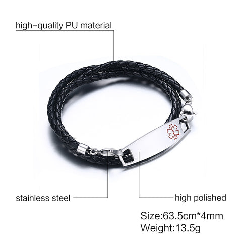 Image of Unisex Medical Alert ID Bracelet - Braided Leather Triple Wrap - Free Engraving