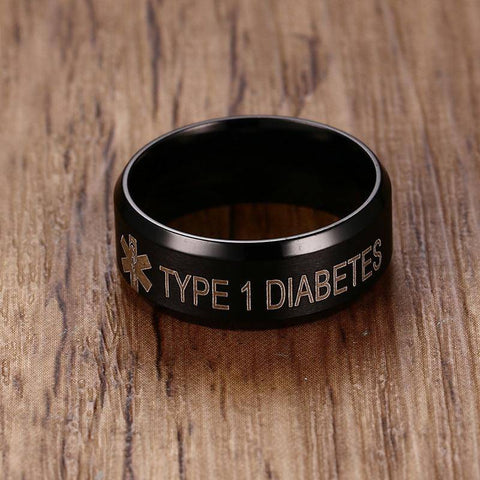 Mens Diabetic Medical Alert Ring - Matte Black Stainless Steel for Diabetes Type 1