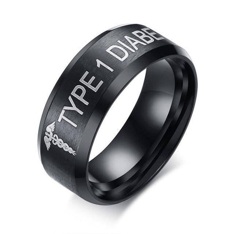 Mens Diabetic Medical Alert Ring - Black Stainless Steel - Type 1 & Type 2 Diabetes