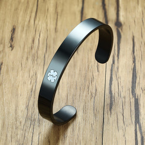 Unisex Medical Alert ID Cuff Bracelet - Stainless Steel - Free Engraving