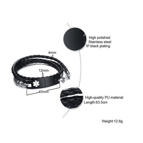 Image of Unisex Medical Alert ID Bracelet - Triple Wrap Black Leather - Free Engraving