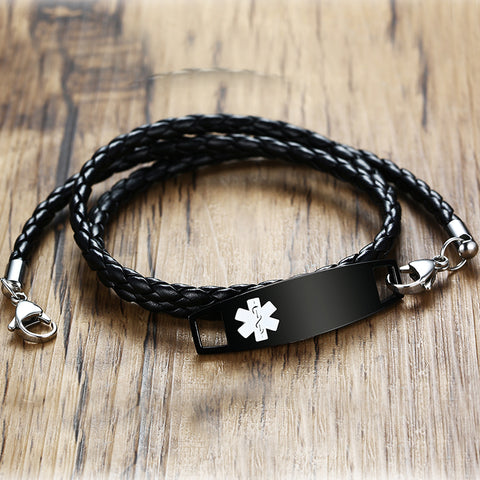 Unisex Medical Alert ID Bracelet - Triple Wrap Black Leather - Free Engraving