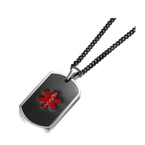 Medical Alert ID Tag Necklace in Enamel Black & Red Color - Free Engraving