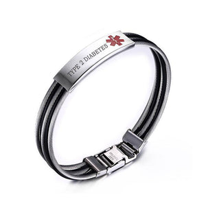 Mens Diabetic Medical Alert ID Bracelet - Banded Stainless Steel - For Type 1 and Type 2 Diabetes