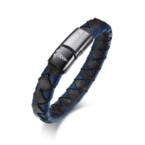Image of Mens Diabetic Medical Alert ID Bracelet - Genuine Leather - Type 1 & Type 2 Diabetes