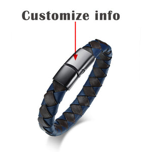 Mens Medical Alert ID Bracelet - Genuine Leather - Free Engraving