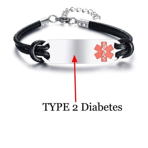Image of Unisex Diabetic Medical Alert ID Bracelet - Type 1 & Type 2 Diabetes