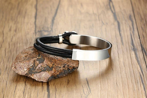 Image of Mens & Womens Medical Alert ID Bracelet - Leather With Stainless Steel - Type 1 & Type 2 Diabetes