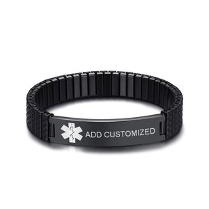 Mens Diabetic Medical Alert ID Bracelet - Black Stretch Stainless Steel - Free Engraving