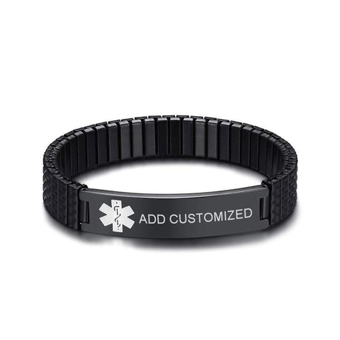 Image of Mens Diabetic Medical Alert ID Bracelet - Black Stretch Stainless Steel - Free Engraving