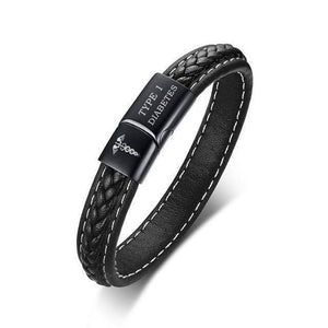 Mens Diabetic Medical Alert ID Bracelet - Stitched Black Leather - For Type 1 and Type 2 Diabetes