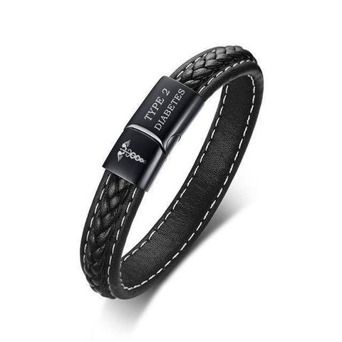 Image of Mens Diabetic Medical Alert ID Bracelet - Stitched Black Leather - For Type 1 and Type 2 Diabetes
