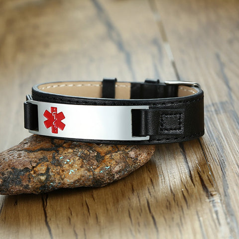 Image of Mens Medical Alert ID Bracelet - Genuine Leather - Free Engraving