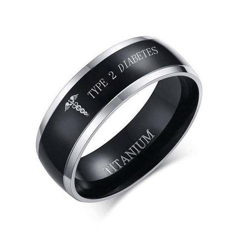 Mens Diabetic Medical Alert Ring - Titanium - Type 1 & Type 2 Diabetes