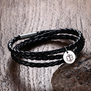Medical Alert ID Bracelet - Stainless Steel Black Wrap Leather
