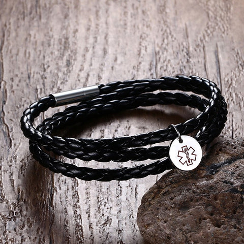Image of Medical Alert ID Bracelet - Stainless Steel Black Wrap Leather