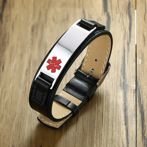 Image of Diabetic Medical Alert ID Bracelet - Stainless Steel and Black Leather - Type 1 and Type 2 Diabetes