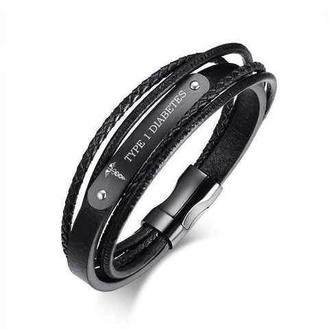 Mens Diabetic Medical Alert  ID Bracelet - Black Leather, Braided Strands - Type 1 & Type 2 Diabetes
