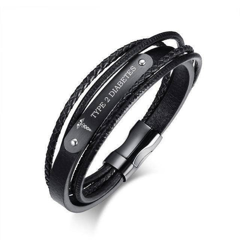 Image of Mens Diabetic Medical Alert  ID Bracelet - Black Leather, Braided Strands - Type 1 & Type 2 Diabetes