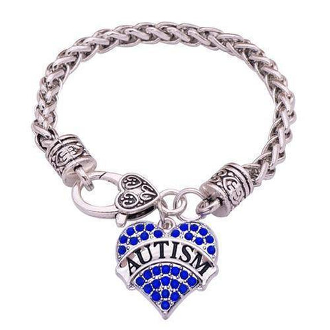 Image of Womens Crystal Heart Autism Medical Alert ID Charm Bracelet