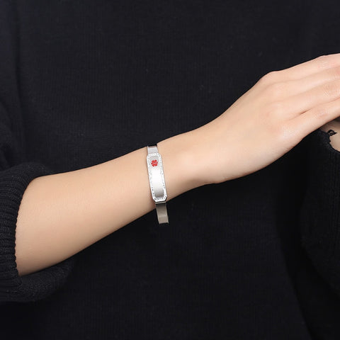 Image of Womens Medical Alert ID Bracelet - Stainless Steel Bangle - Free Engraving